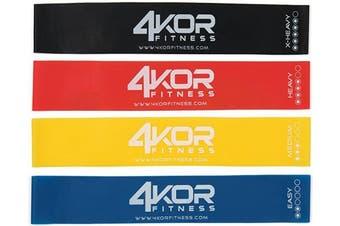 (4 Piece Set) - Extra Thick Resistance Loop Band Set by 4KOR Fitness, Perfect for CrossFit, Yoga, Physical Therapy, and Booty Building
