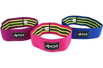 (3 Grippy Hip Band Set (Pink Purple Blue)) - Extra Thick Resistance Loop Band Set by 4KOR Fitness, Perfect for CrossFit, Yoga, Physical Therapy, and Booty Building