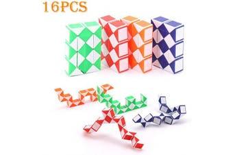 Lifreer 16 PACKS 2.3*0.59*4cm Party Bag Toys Magic Snake Cube, Mini Snake Speed Cubes, Cracker Fillers, Twist Puzzle Toys for Kids, Party Bag Fillers, Party Favours(Blue, Red, Orange, Green)