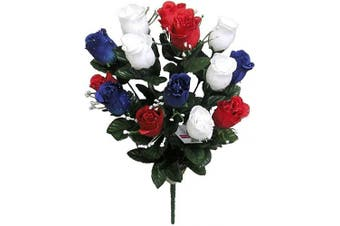(Rd/Wt/Bl_rose Bud) - Admired By Nature 14 Stems of Artificial Blossoms Rose Bush for Home Office, Wedding and Restaurant Decoration Arrangement, Red/White/Blue