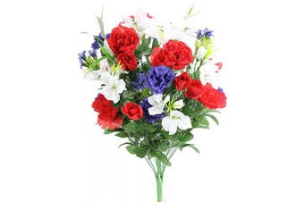 (Rd/Wt/Bl) - Admired By Nature ABN1B001-RD/WT/BL 40 Stems Artificial Full Blooming Lily, Rose Bud, Carnation and Mum with Greenery Mixed Flower Bush, Red/White/Blue, RD/WT/BL