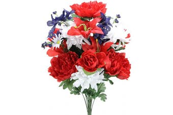 (Rd/Wt/Bl_daisy) - Admired By Nature Artificial 24 Stem Peony, Lily, Mum Mixed Bush, RD/WT/BL_Daisy