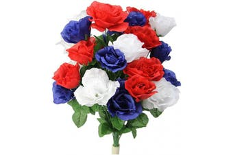 (Red/White/Blue) - Admired By Nature GPB0339 Artificial Blossoms Rose Flower Bush, Red/White/Blue