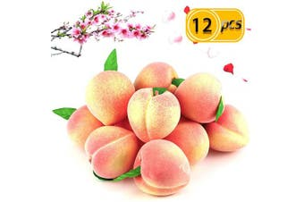 BcPowr 12PCS Fake Fruit Peach - Artificial Fruit Plastic Artificial Lifelike Peach Simulation Pink Peach Fake Home Display Decoration For Still Life Paintings, Storefront Decoration(Pink,7.5cm x 8cm )