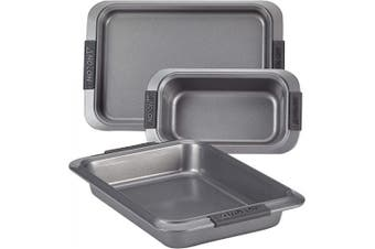 (3 Piece, Gray) - Anolon 47363 Advanced Nonstick Bakeware Set with Grips includes Nonstick Bread Pan, Cookie Sheet / Baking Sheet and Baking Pan - 3 Piece, Grey