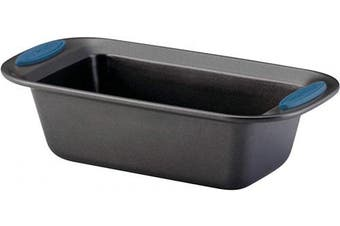 (23cm  x 13cm , Gray with Marine Blue Grips) - Rachael Ray 47963 Yum-o! Bakeware Oven Lovin' Nonstick Loaf Pan, 23cm by 13cm Steel Pan, Grey with Marine Blue Handles