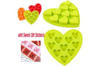 Heart Silicone Mould and Hand Made Paper Gift Stickers Set for Food Cake Chocolate Cookie Candy Jello Gummies Baking