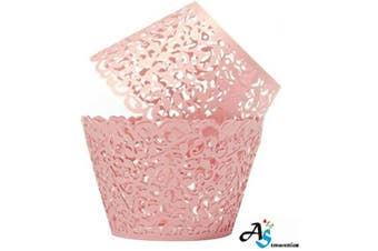 (1, Pink) - A & S Creavention Vine Cupcake Holders Filigree Vine Designed Decor Wrapper Wraps Cupcake Muffin Paper Holders - 50pcs (Pink)