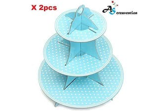(2, Blue Stand) - A & S Creavention 3 Levels Cardboard Cupcake Stand Holder Tower Display, 2pcs (Blue)