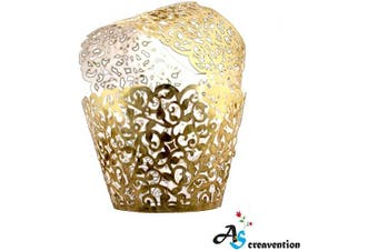 (50, Brilliant Gold) - A & S Creavention Vine Cupcake Holders Filigree Vine Designed Decor Wrapper Wraps Cupcake Muffin Paper Holders - 50pcs (50, Brilliant Gold)