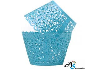 (50, Turquoise) - A & S Creavention Vine Cupcake Holders Filigree Vine Designed Decor Wrapper Wraps Cupcake Muffin Paper Holders - 50pcs (50, Light Blue)