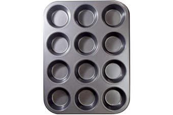 12 Cups Muffin and Cupcake Pan, Nonstick Brownie Cake Pan, Carbon Steel bakeware for Oven Baking Grey