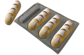 (4 Caves 23cm  Hot Dog Shape) - Bluedrop Silicone Bread Forms For Hot Dog Baking Moulds Sandwich Making Sheet 4 Cavities 23cm Loaf Eclair Mats
