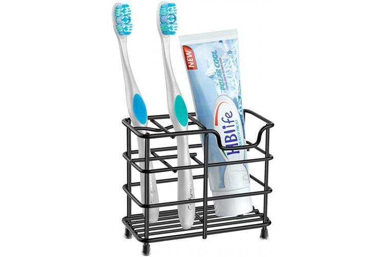 (Small, Black) - HBlife Toothbrush Holder, Small Stainless Steel Toothpaste Holder Bathroom Accessories Organiser, Black