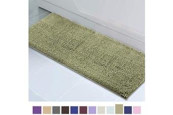 (50cm  x 150cm , Sage Green) - ITSOFT Non Slip Shaggy Chenille Soft Microfibers Runner Large Bath Mat for Bathroom Rug Water Absorbent Carpet, Machine Washable, 50cm x 150cm Sage Green