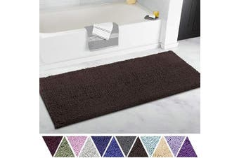 (50cm  x 120cm , Chocolate Brown) - ITSOFT Non Slip Shaggy Chenille Soft Microfibers Runner Large Bath Mat for Bathroom Rug Water Absorbent Carpet, Machine Washable, 50cm x 120cm Chocolate Brown