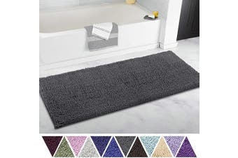 (50cm  x 120cm , Charcoal Gray) - ITSOFT Non Slip Shaggy Chenille Soft Microfibers Runner Large Bath Mat for Bathroom Rug Water Absorbent Carpet, Machine Washable, 50cm x 120cm Charcoal Grey