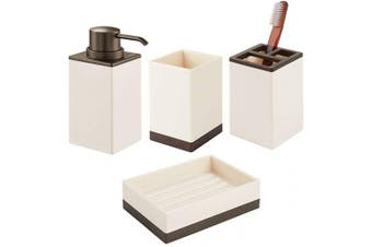 (Cream/Bronze) - mDesign Square Plastic Bathroom Vanity Countertop Accessory Set - Includes Soap Dispenser Pump, Divided Toothbrush Holder, Tumbler Rinsing Cup, Soap Dish - 4 Pieces - Cream/Bronze