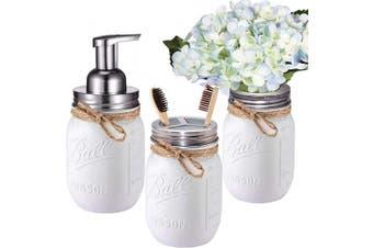 (Brushed Nickel) - Mason Jar Bathroom Set(3 Piece)-Foaming Soap Dispenser, Toothbrush Holder ,Flower Vase,for Wedding House Decor Countertop and Vanity Organiser Bathroom Kitchen Farmhouse Décor (Brushed Nickel)