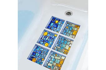 (Blue Mosaic) - ChezMax 3D Stereoscopic Blue Mosaic DIY Anti Slip Safety Shower Bath Tub Decal Stickers Bathtub Appliques 6 Pcs 15cm X 15cm