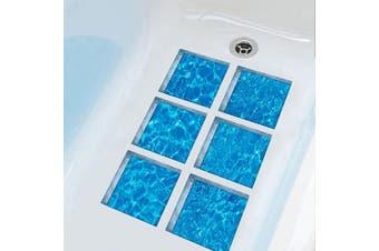 (Waves) - ChezMax 3D Stereoscopic Waves DIY Anti Slip Safety Shower Bath Tub Decal Stickers Bathtub Appliques 6 Pcs 15cm X 15cm