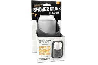 (Gray) - 30 Watt The Original Sudski | Portable Shower Drink Cup Holder for All Canned Beer & Wine | Patented Silicone Drink Holders Grips Any Shiny Bath Surface | Perfect (Grey)
