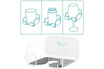 (Clear) - Beautyflier Wine Glass Holder Bath and Shower Acrylic Cupholder for Wine, Beer, Coffee and Beverage Bathtub Drink Holder (Clear)