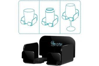 (Black) - Beautyflier Beer Holder Wine Glass Holder Bath and Shower Acrylic Cupholder for Wine, Beer, Coffee and Beverage Bathtub Drink Holder (Black)