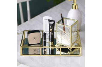 30cm Elegant Gold Mirror Tray, Perfume Tray Mirror Vanity Tray Dresser Tray Ornate Tray Metal Decorative Tray Tray Jewellery Perfume Organiser Makeup Tray for Vanity, Dresser, Bathroom, Bedroom