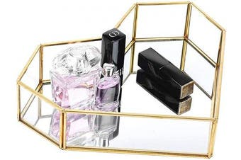 (Size 4) - Pasutewel Gold Mirror Tray Perfume Tray Vanity Tray Metal Decorative Jewellery Perfume Organiser Makeup Tray for Dresser, Bedroom,Bathroom (Size 4)