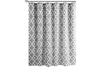 (180cm  x 210cm , Silver Grey) - Biscaynebay Textured Fabric Shower Curtains, Morocco Pearl Printed Bathroom Curtains, Silver Grey 180cm Width by 210cm Height