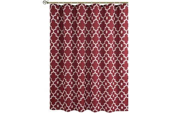 (180cm  x 180cm , Red Burgundy) - Biscaynebay Textured Fabric Shower Curtains, Morocco Pearl Printed Bathroom Curtains, Red Burgundy 180cm by 180cm