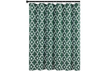 (180cm  x 210cm , Hunter Green) - Biscaynebay Textured Fabric Shower Curtains, Morocco Pearl Printed Bathroom Curtains, Hunter Green 180cm Width by 210cm Length