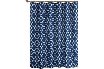 (180cm  x 210cm , Indigo) - Biscaynebay Textured Fabric Shower Curtains, Morocco Pearl Prinetd Bathroom Curtains, Indigo 180cm Width by 210cm Height