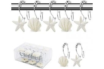 (White) - BEAVO Seashell Shower Curtain Hooks,12 Pcs Double Roller Glide Rust-Resistant Stainless Steel Decorative Shower Curtain Rings for Bathroom, Baby Room, Bedroom, Living Room Decor (White)