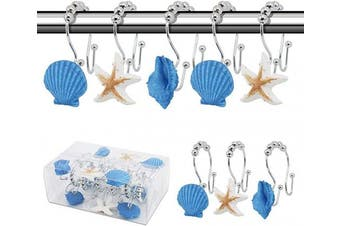 (Blue+white) - BEAVO Seashell Shower Curtain Hooks,12 Pcs Double Roller Glide Rust-Resistant Stainless Steel Decorative Shower Curtain Rings for Bathroom, Baby Room, Bedroom, Living Room Decor (Blue+White)