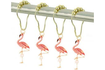 Chictie Gold Flamingo Shower Curtain Hooks for Bathroom Decorative Shower Rod Liner Rings Set of 12 Cute Pink Birds Design Rustproof Stainless Steel Metal Roller Ball Hanger