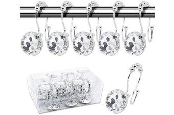(Crystal hooks, Transparent) - BEAVO Decorative Shower Curtain Hooks,12 Pcs Double Glide Shower Curtain Rings Stainless Steel Rustproof Shower Hook Ring with Acrylic Crystal Rhinestones for Bathroom Shower Rods Curtains and Liner