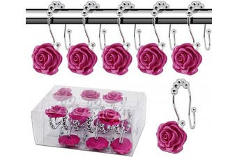 (Rose hooks, Rose Red) - BEAVO Rose Shower Curtain Hooks,12 Pcs Double Glide Shower Curtain Rings Stainless Steel Rustproof Decorative Shower Hook Ring with Resin Rose Flower for Bathroom Shower Rods(Rose red)