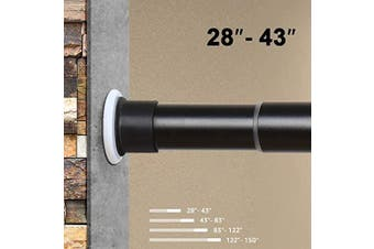 (28-110cm , Black) - ASHLEYRIVER Room Divider Tension Curtain Rod,Tension Shower Window Curtain Rod,No Drilling,Very Secure-28-110cm ,Black