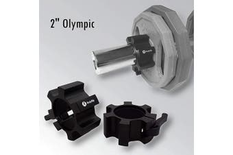 (Black) - BodyRip Olympic 5.1cm Star Collars Barbell Dumbell Clips Alloy Aluminium Locks Pair