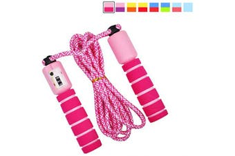 Abnaok Kids Skipping Rope, Adjustable Speed Rope Children Jump Rope with Counter for Kids and Adults (Pink+Red)