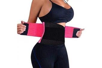 (Pink, XL) - Boolavard Waist Trainer Belt for Women - Waist Cincher Trimmer - Slimming Body Shaper Belt - Sport Girdle Belt (UP Graded)