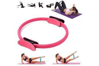 (Pink) - VANUODA Pilates Fitness Resistance Training Ring - Double Handle Pilates Yoga Ring - Weight Loss Body Toning Magic Exercise Circle to Burn Fat