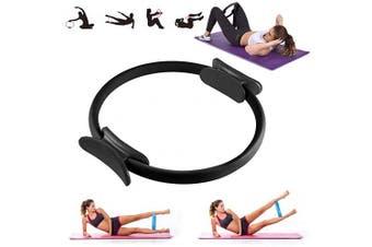 (Black) - VANUODA Pilates Fitness Resistance Training Ring - Double Handle Pilates Yoga Ring - Weight Loss Body Toning Magic Exercise Circle to Burn Fat