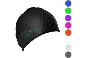 (Black) - #DoYourSwimming Swimming cap »Drops« unisex, made of durable silicone (spandex), very elastic, fits every head shape perfectly