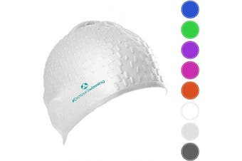 (White) - #DoYourSwimming Swimming cap »Drops« unisex, made of durable silicone (spandex), very elastic, fits every head shape perfectly
