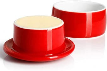 (Red) - Porcelain Butter Crock, French Butter Keeper - Fresh Soft Butter without Refrigeration, Red - Better Butter & Beyond