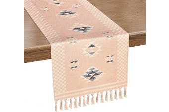 (36cm  x 180cm , Rose Pink) - Alishomtll Braided Table Runner with Tassels Rose Pink Geometric Boho Table Runners for Summer, Spring Holiday, Catering Events, Dinner Parties, Wedding, Indoor and Outdoor Parties, 36cm x 180cm