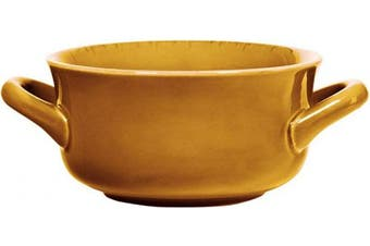 (Amber) - Farmhouse Cereal Bowls With Handles - Ceramic Salad and Soup Bowl Holds 710mls (Amber)